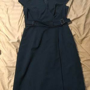 Belted teal Calvin Klein dress in size 2